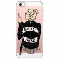 iPhone 5/5S/SE transparant hoesje - Badass babe (blondine)