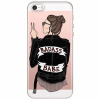 iPhone 5/5S/SE transparant hoesje - Badass babe (brunette)