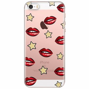 iPhone 5/5S/SE transparant hoesje - Lips & stars