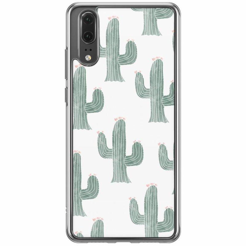 Casimoda Huawei P20 siliconen hoesje - Cactus print