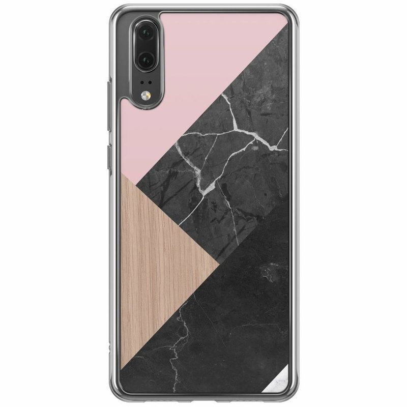 Casimoda Huawei P20 siliconen hoesje - Marble wooden mix