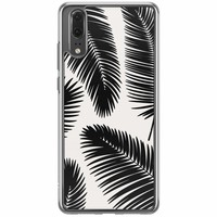 Casimoda Huawei P20 siliconen hoesje - Palm leaves silhouette