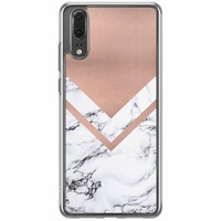 Casimoda Huawei P20 siliconen hoesje - Rose gold marble