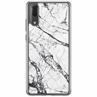 Casimoda Huawei P20 siliconen hoesje - Grijs marmer
