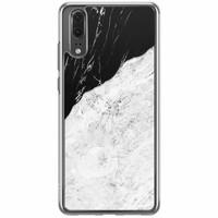 Casimoda Huawei P20 siliconen hoesje - Marmer zwart grijs