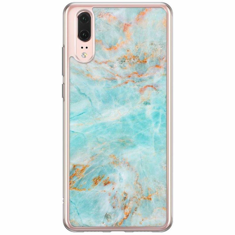 Casimoda Huawei P20 siliconen hoesje - Turquoise marmer