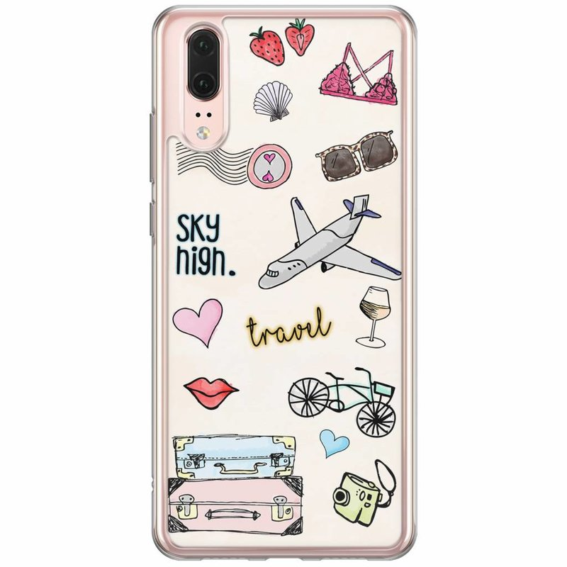 Casimoda Huawei P20 siliconen hoesje - Let's travel