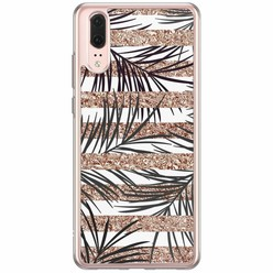 Huawei P20 siliconen hoesje - Rose gold leaves