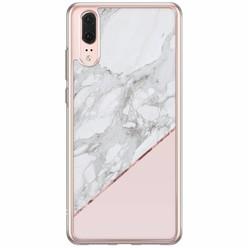 Huawei P20 siliconen hoesje - Marmer roze