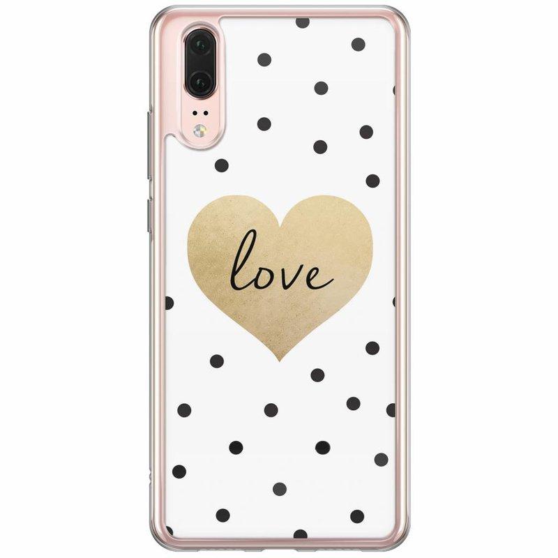 Casimoda Huawei P20 siliconen hoesje - Love dots