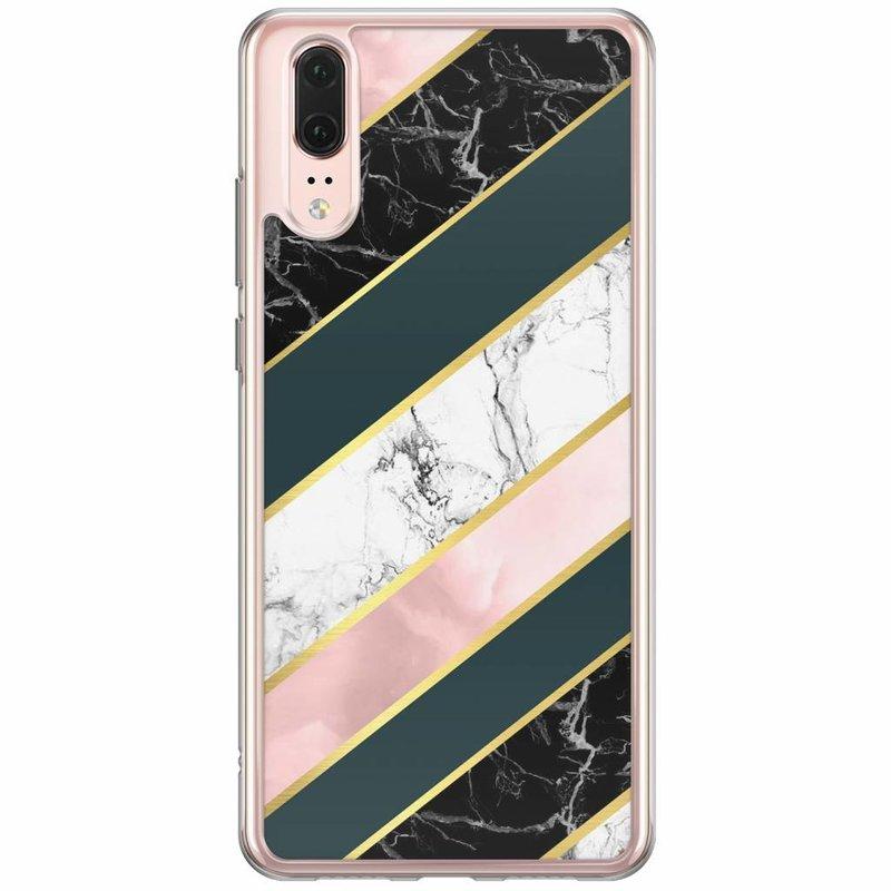 Casimoda Huawei P20 siliconen hoesje - Marble stripes