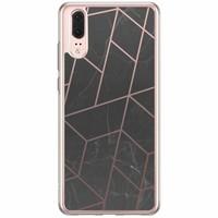 Casimoda Huawei P20 siliconen hoesje - Marble grid