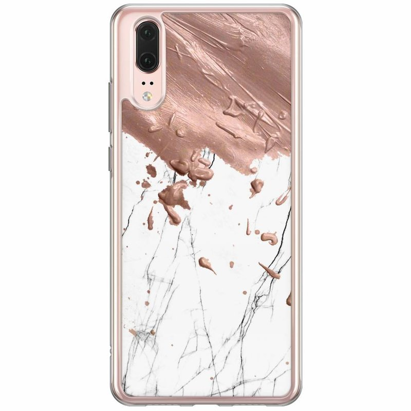 Casimoda Huawei P20 siliconen hoesje - Marble splash