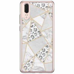Casimoda Huawei P20 siliconen hoesje - Stone & leopard print