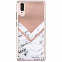 Casimoda Huawei P20 siliconen hoesje - Rose gold marble