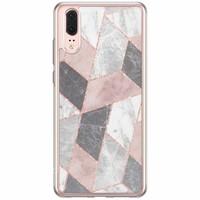 Casimoda Huawei P20 siliconen hoesje - Stone grid