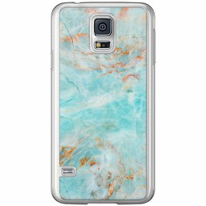 Samsung Galaxy S5 (Plus) / Neo siliconen hoesje - Turquoise marmer