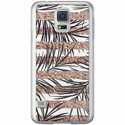 Casimoda Samsung Galaxy S5 (Plus) / Neo siliconen hoesje - Rose gold leaves