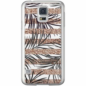 Samsung Galaxy S5 (Plus) / Neo siliconen hoesje - Rose gold leaves