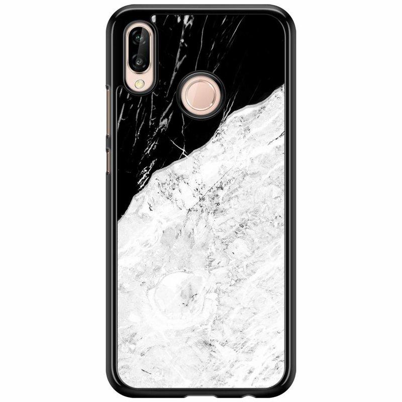 Huawei P20 Lite hoesje - Marmer zwart grijs