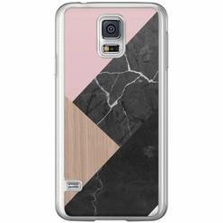 Casimoda Samsung Galaxy S5 (Plus) / Neo siliconen hoesje - Marble wooden mix