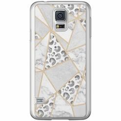 Casimoda Samsung Galaxy S5 (Plus) / Neo siliconen hoesje - Stone & leopard print