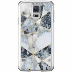 Casimoda Samsung Galaxy S5 (Plus) / Neo siliconen hoesje - Marmer blauw