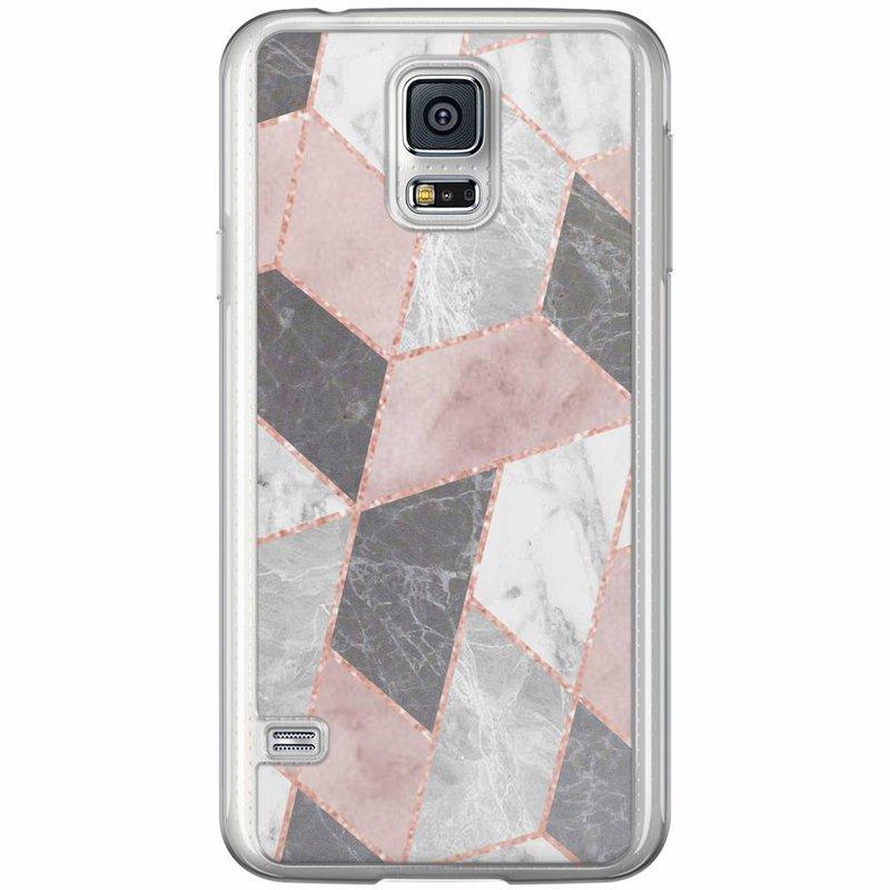 Casimoda Samsung Galaxy S5 (Plus) / Neo siliconen hoesje - Stone grid