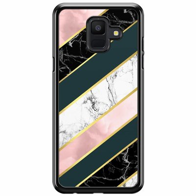 Casimoda Samsung Galaxy A6 2018  hoesje - Marble stripes