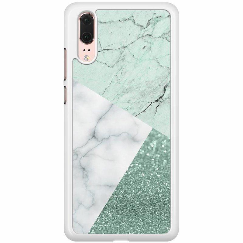 Huawei P20 hoesje - Minty marmer collage