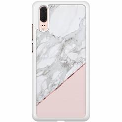 Huawei P20 hoesje - Marmer roze