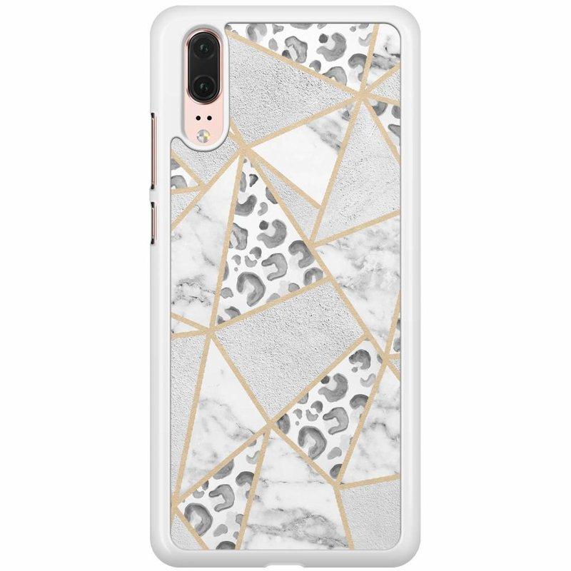 Huawei P20 hoesje - Stone & leopard print