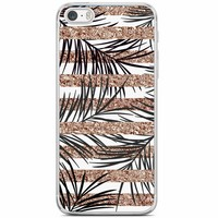 iPhone 5/5S/SE siliconen hoesje - Rose gold leaves