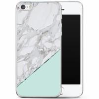 Casimoda iPhone 5/5S/SE siliconen hoesje - Marmer mint
