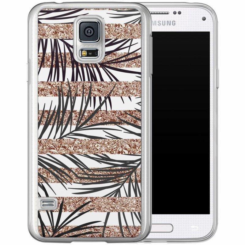 Casimoda Samsung Galaxy S5 (Plus) / Neo siliconen hoesje - Rose gold leaves