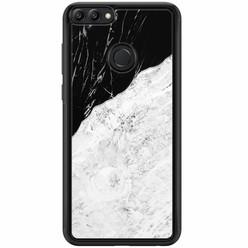 Huawei P Smart hoesje - Marmer zwart grijs