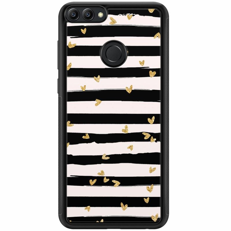 Huawei P Smart hoesje - Hart streepjes