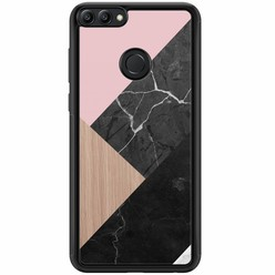 Huawei P Smart hoesje - Marble wooden mix