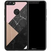 Huawei P Smart hoesje - Marble wooden mix