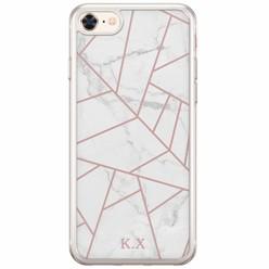 Siliconen hoesje met naam - White marble grid