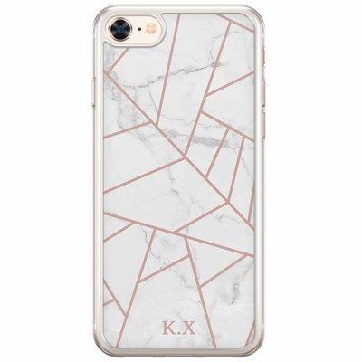 Casimoda Siliconen hoesje met naam - White marble grid