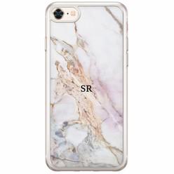 Casimoda iPhone 8/7 siliconen hoesje naam - Parelmoer marmer