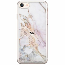 iPhone 8/7 siliconen hoesje naam - Parelmoer marmer