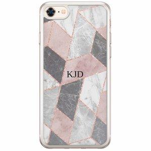 Casimoda iPhone 8/7 siliconen hoesje naam - Stone grid