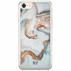 iPhone 8/7 siliconen hoesje naam - Marmer blauw goud