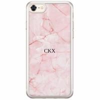 Casimoda iPhone 8/7 siliconen hoesje naam - Marmer roze