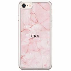 iPhone 8/7 siliconen hoesje naam - Marmer roze