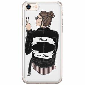 iPhone 8/7 siliconen hoesje naam - Badass babe brunette