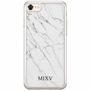 iPhone 8/7 siliconen hoesje naam - Marmer grijs