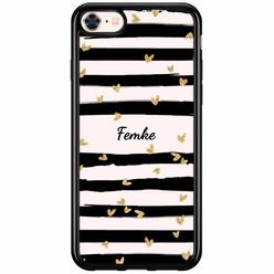 iPhone 8/7 siliconen hoesje naam - Hart streepjes